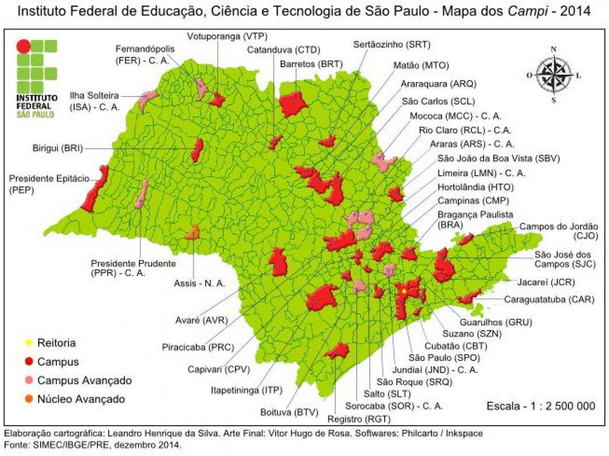 Institutas Federalinės Sao Paulo Ifsp Zemėlapis Zemėlapis
